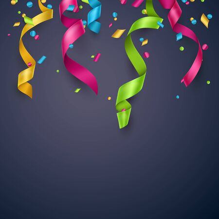 Colorful confetti and streamers on blue background. Can be used as birthday card, party  flyer or grand opening banner.