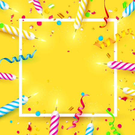 Colorful sparkling candles on orange background. Birthday, anniversary or celebration template with place for your text.