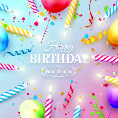 Colorful air balloons and sparkling candles.   Birthday, anniversary or celebration template.