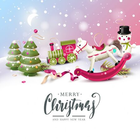 Christmas greeting card with traditional wooden toy decorations in the snow