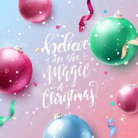 Christmas colorful baubles and streamers.  Flat lay, top view. Ilustrace