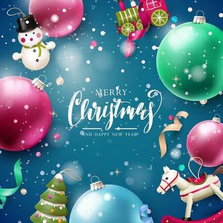 Colorful Christmas baubles and traditional wooden Christmas tree decorations on blue background Flat lay, top view