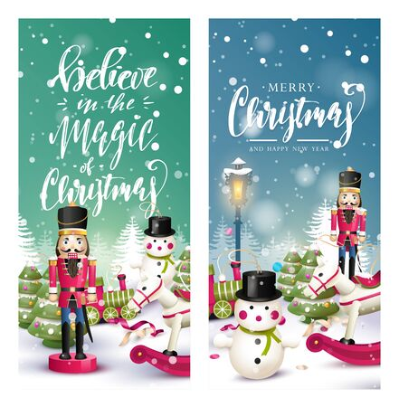 Christmas headers or banners with traditional wooden toy decorations at night scenery
