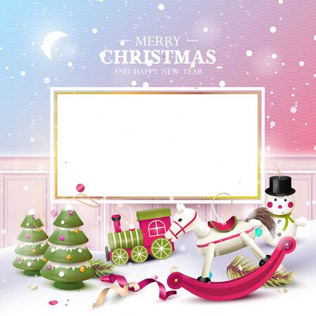 Christmas greeting card with traditional wooden toy decorations in the snow. Place for your message.
