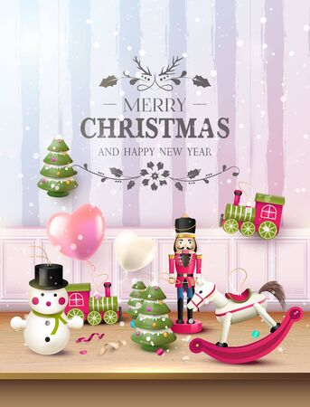 Christmas greeting card with traditional wooden toy decorations on the shelf.