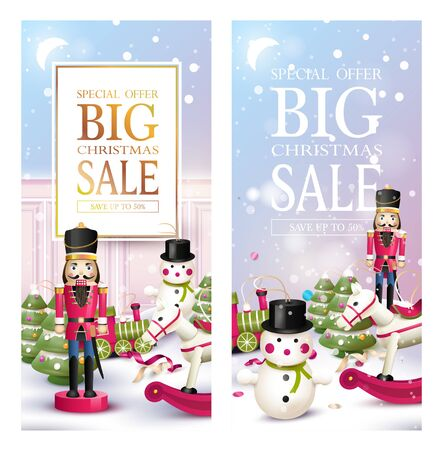 Christmas sale banners or headers. Xmas design with traditional wooden toy decorations in the snow. Promotion or shopping template.