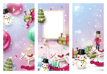 Set of three headers or banners with traditional wooden Christmas tree decorations. Empty space for your message