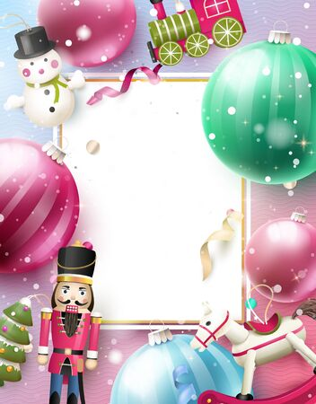 Christmas background with traditional wooden toy decorations. Place for advertising and announcements.
