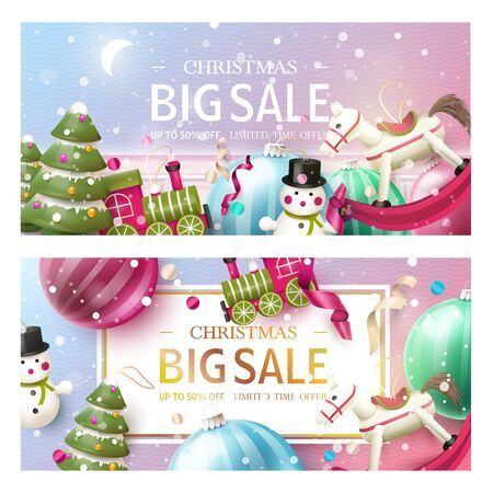 Christmas sale promotional banners or headers. Xmas design with traditional wooden toy decorations. Promotion or shopping template.