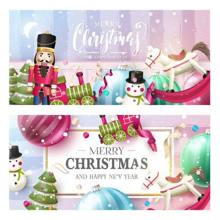 Christmas headers or banners with traditional wooden toy decorations. Stock fotó