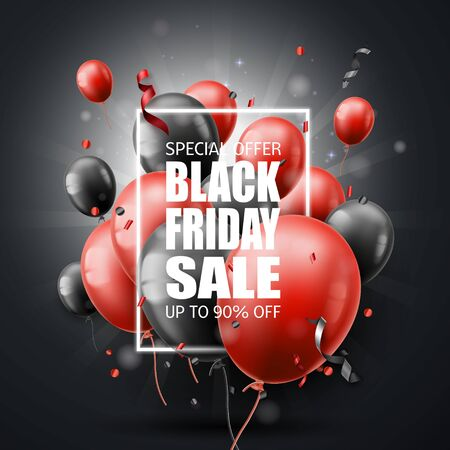 Black Friday sale poster with shiny balloons.