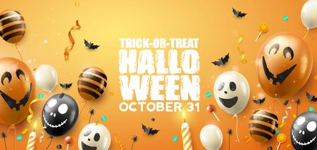 Happy Halloween banner with scary air balloons and streamers on orange background Illusztráció