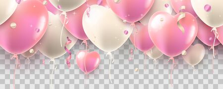 Air balloon hearts. Seamless  Valentines Day garland on transparent background