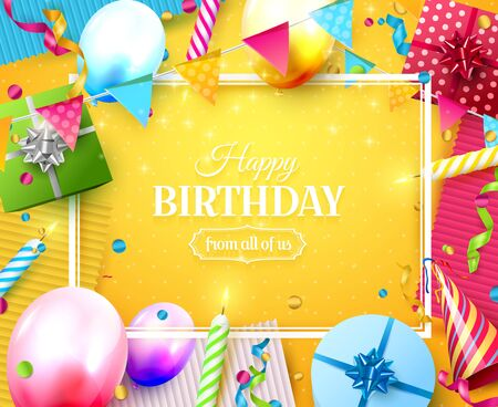 Happy birthday party template with colorful balloons, candles, gift boxes and confetti on orange background. Space for your text