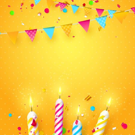 Colorful sparkling candles and birthday garland on orange background. Birthday, anniversary or celebration template.