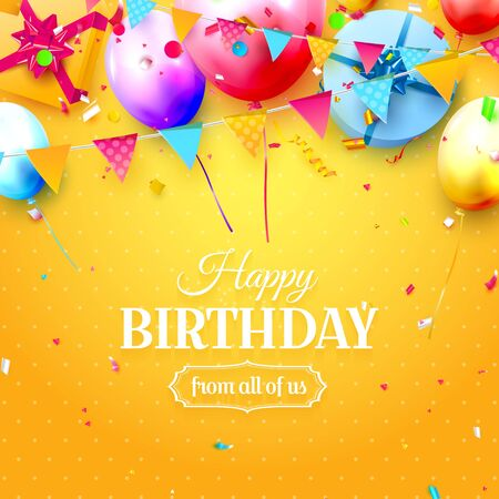 Colorful birthday greeting card with candles, balloons and garland on orange background Çizim