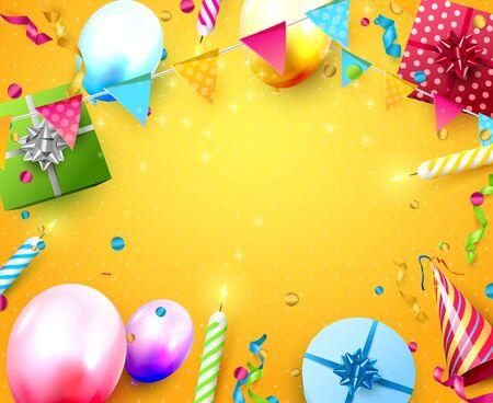 Plantilla de fiesta de cumpleaños feliz con globos de colores, velas, cajas de regalo y confeti sobre fondo naranja. Espacio para tu texto