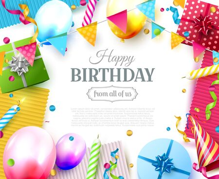 Happy birthday party template with colorful balloons, candles, gift boxes and confetti on white background. Space for your text Çizim