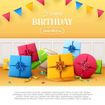 Luxury birthday greeting card with colorful gift boxes and confetti on orange background. Place for text. Foto de archivo - 138295586