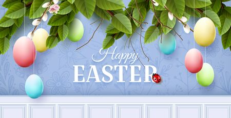 Traditional Easter garland with colorful eggs on blue background.
