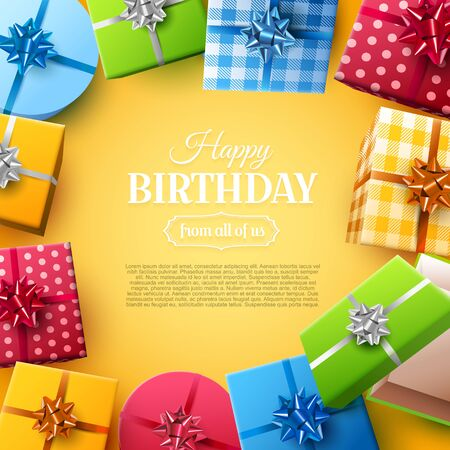 Luxury birthday greeting card with colorful gift boxes on orange background. Place for text. Foto de archivo - 138295717