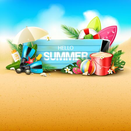 Summer time blackground with beach elements and wooden sign on the sand. Place for text