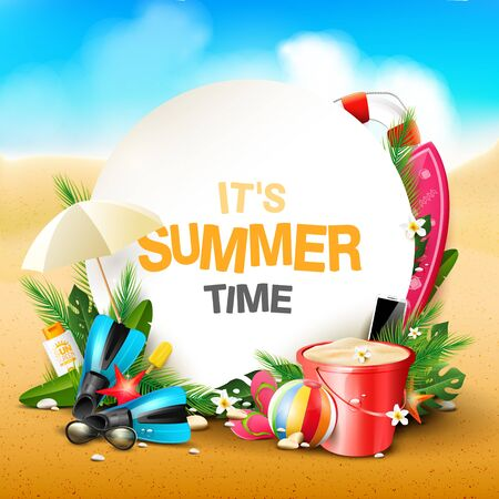 Summer time blackground with beach elements in the sand. Space for text Ilustración de vector