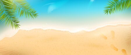 Summer beach header with sea waves and palm leaves