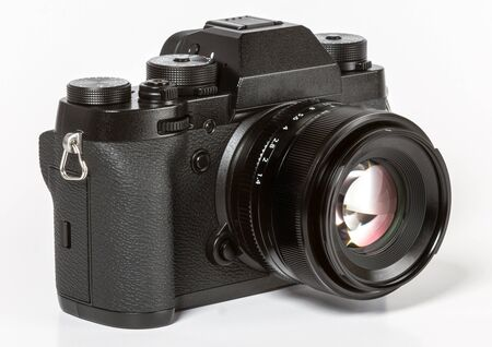 Modern retro mirrorless Digital Camera Isolated On White Background