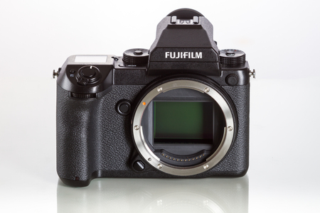 Fujifilm GFX 50S, 43.8 x 32.9mm 51.4MP CMOS sensor and uses new G-mount lenses mount