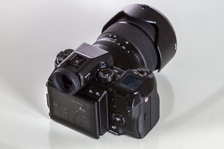 Fujifilm GFX 50S, 51 megapixels, medium format sensor digital camera with 3.2″ tilt screen on white reflecting background