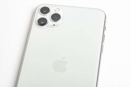 Vidalia, Georgia, USA  September 27, 2019: A studio product shot of Apple�s iPhone 11 Pro Max mobile phone in silver set on white background.