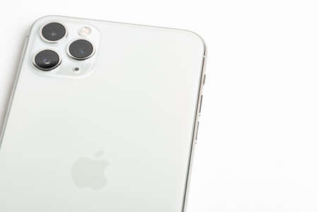 Vidalia, Georgia, USA  September 27, 2019: A studio product shot of Apple's iPhone 11 Pro Max mobile phone in silver set on white background.