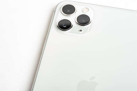 Vidalia, Georgia, USA / September 27, 2019: A studio product shot of Apple's iPhone 11 Pro Max mobile phone in silver set on white background. Editorial