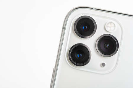 Vidalia, Georgia, USA / September 27, 2019: A studio product shot of Apple's iPhone 11 Pro Max mobile phone in silver set on white background.