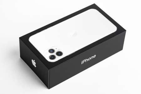 Vidalia, Georgia / USA - September 27, 2019: A studio shot of the Apple iPhone 11 Max Pro packaging retail box set on a white background.