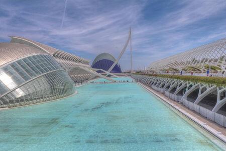 pool halls: Futuristic architecture of science museum in Valencia, Spain.