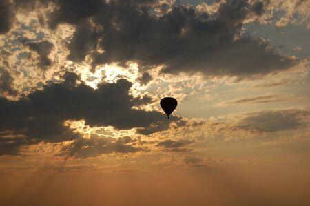 Balloon in sunset sky Stock Photo - 17485903