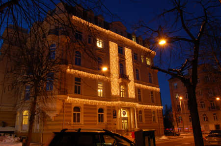 Christmas decorated building