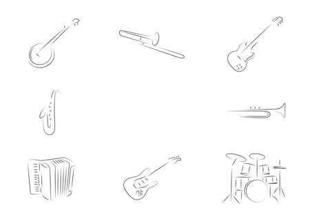 Instrumentos musicales establecidos banjo, tromb�n, guitarra el�ctrica, saxof�n, trompeta, acorde�n, bater�a, Foto de archivo - 19022109