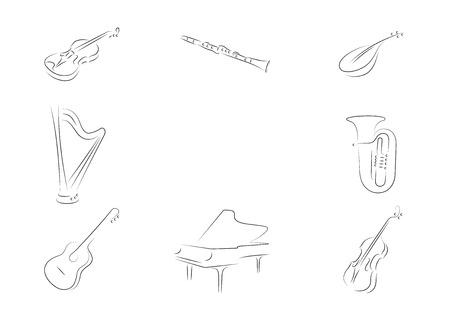 Instruments de musique fixés. Violon, clarinette, mandoline, harpe, tube, guitare classique, piano, grand, piano, contrebasse.