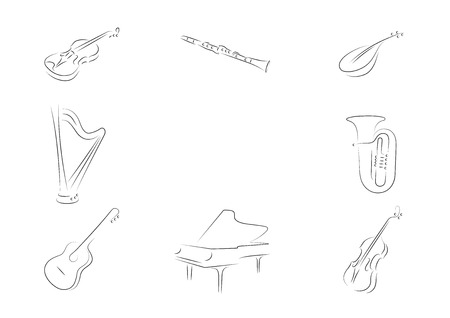 Musical instruments set. Violin,  clarinet, mandolin, harp, tube, classical guitar, grand piano, grand, piano, double-bass.