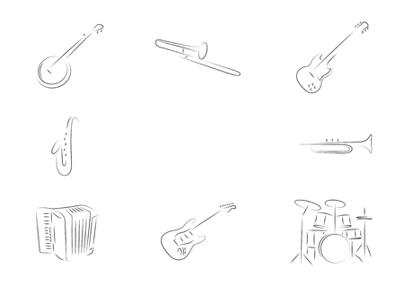 trombone: Musical instruments set. banjo, trombone, electric guitar, saxophone, trumpet, accordion, drums, Illustration
