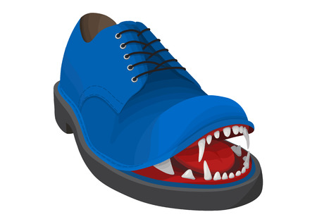 Blue angry shoe with big dogs teeth