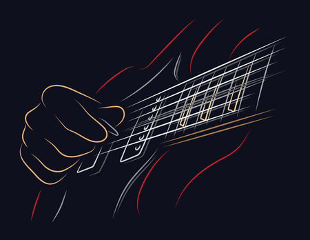 Playing guitar. Right hand picking a string. Illustration