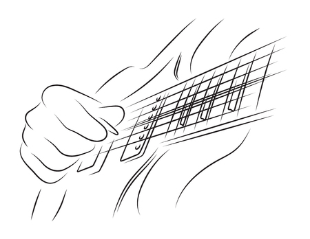 frets: Playing guitar. Right hand picking a string. Illustration