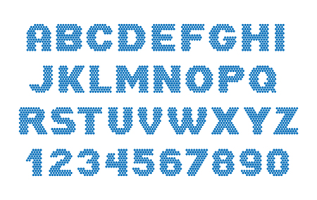 Dots font. Letters and number.