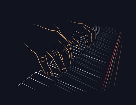 Playing piano. Hands on piano keyboard.