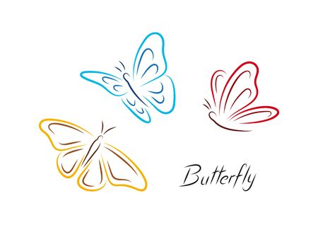 Color Butterfly. Three colored isolated handrawn simple butterflies.