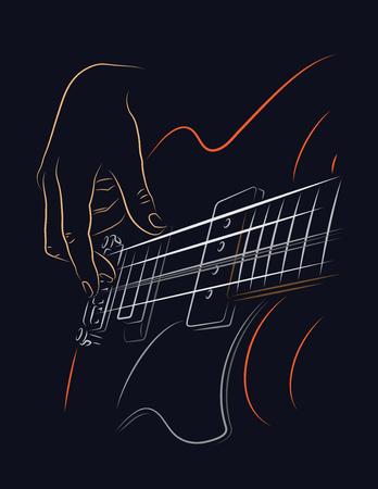 Playing Bass illustratie. Picking bassnaren met de rechterhand de vingers. Vector Illustratie